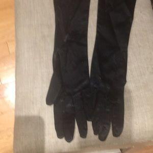 Vintage blk satin high gloves